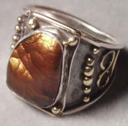 mens handmade silver and gold ring